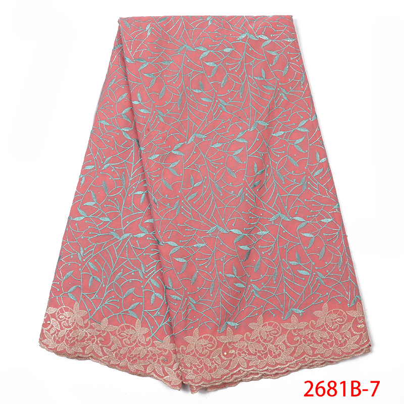 2019 High Quality African Lace Fabric Nigerian Swiss Lace Fabric French Embroidered Lace Fabric With Stones For Women KS2681B-7