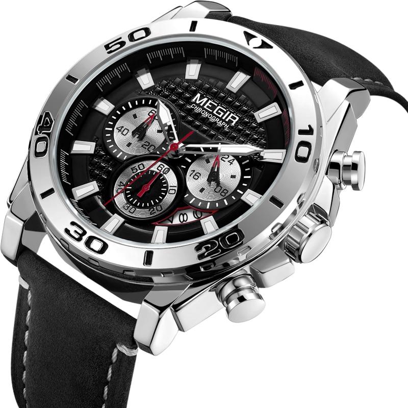 2019 Fashion MEGIR Brand Men Sport Quartz Clock Mens Watches Top Brand Luxury Waterproof Watch Hour Relogio Masculino Relojes Quartz Watches     - title=
