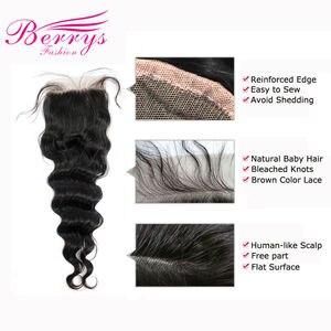 Image 5 - Модные свободные волнистые пучки Berrys с закрытием 4x 4/5x 5/6x6 перуанские натуральные волосы 100% человеческие волосы необработанные волосы утка 10 28 дюймов