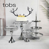 crystal set silver mirror beautiful wedding Luxury cake stand party supplier decoration
