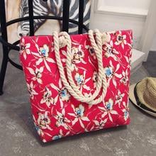 Summer Women Canvas bohemian style striped Shoulder Beach Bag Female Casual Tote Shopping Big Bag floral Messenger Bags
