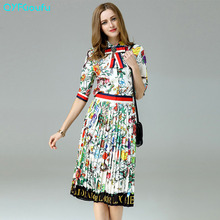 Womens Designer Runway 2017 Two Piece Set Flower Floral Print Bow Tops And Blouses + Knee Length Black White Midi Pleat Skirt