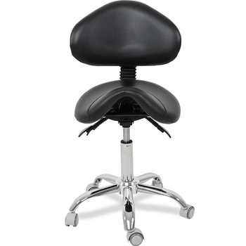 Economic Rolling Saddle Stool Chair with Adjustable Backrest Support for Clinic Hospital Pharmacy Medical Beauty Lab Office - Category 🛒 Furniture