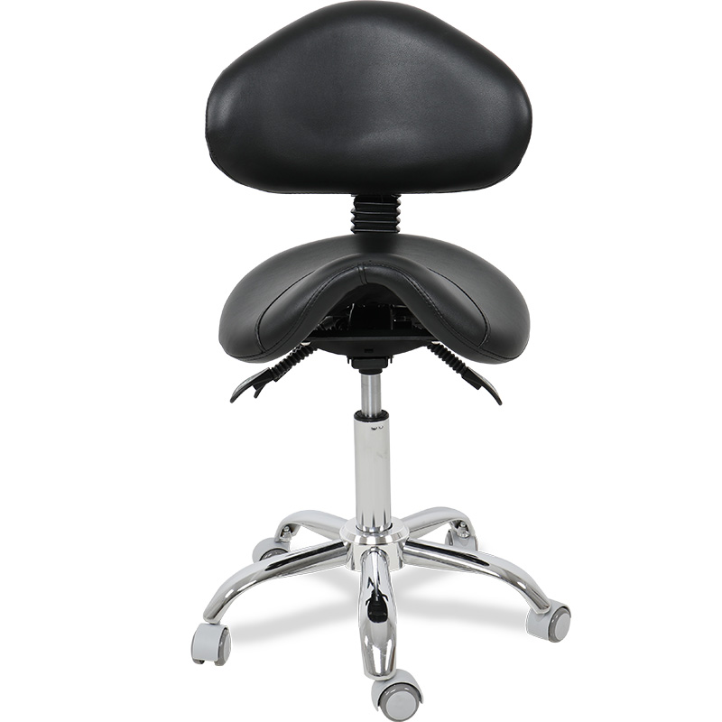 Multi-adjustable Luxury Rolling Saddle Stool Chair With Back Support For Clinic Hospital Pharmacy Medical Beauty Lab Office