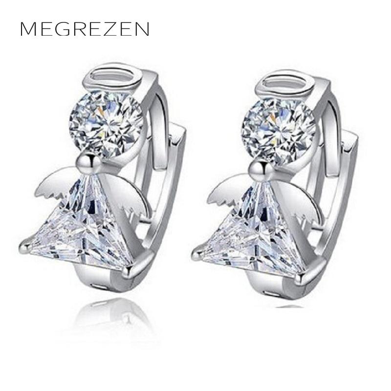 Megrezen Crystal Statement Earings Fashion White Angel Wings Earring Studs Whole Stud Earrings Jewelry For S