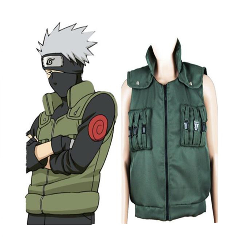 Halloween Role-Playing Naruto Kakashi Cotton Vest Army Green Ninja On The Vest Vest Clothing For Men And Women