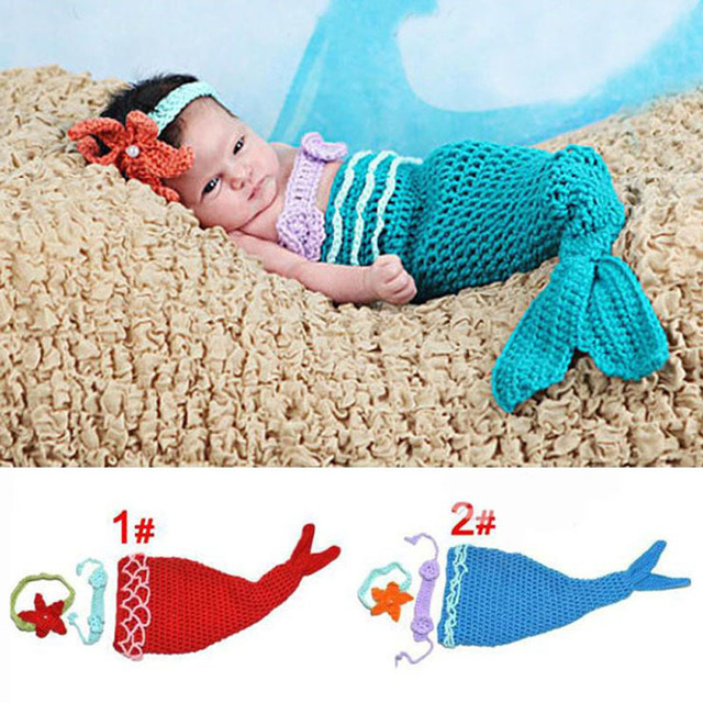 69d7153560353 Baby Infant Mermaid Tail Shells Crochet Knitted Mermaid Costume Set Photography  Props Handmade Animal Style SG026