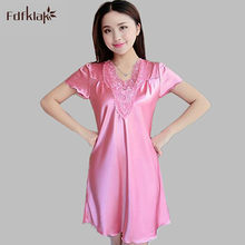 New silk satin nightgowns female sexy lace nightdress women summer short  sleep dress large size ladies leisure sleepshirt A561 cfdfe691b074