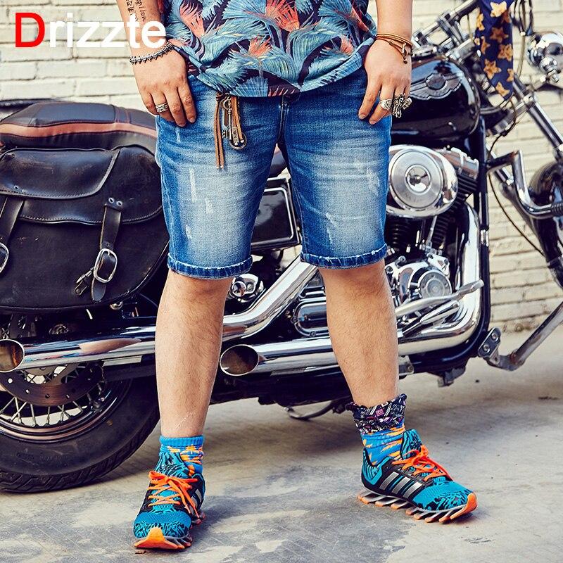 Drizzte Jean Shorts Mens Plus Size 36-48 Korea Stylish Blue Stretch Denim denim Shorts for Men Summer Large Big Tall Man
