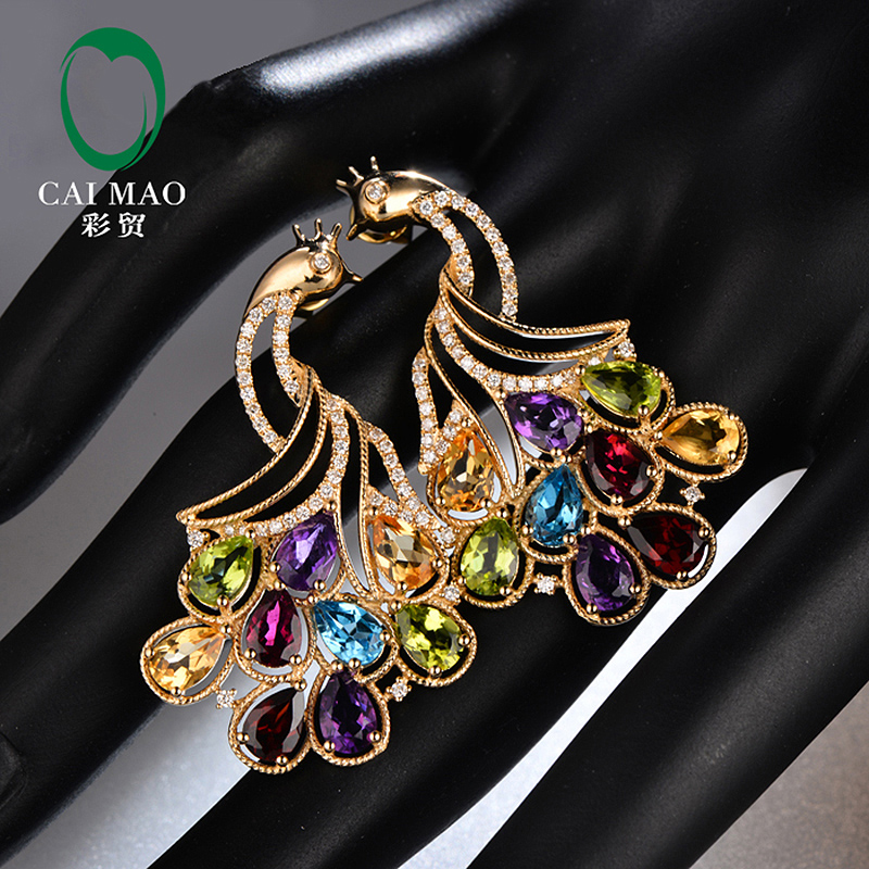 Caimao Colorful 4x6mm Tourmaline 14k Yellow gold Natural Diamond Earrings Studs for Party