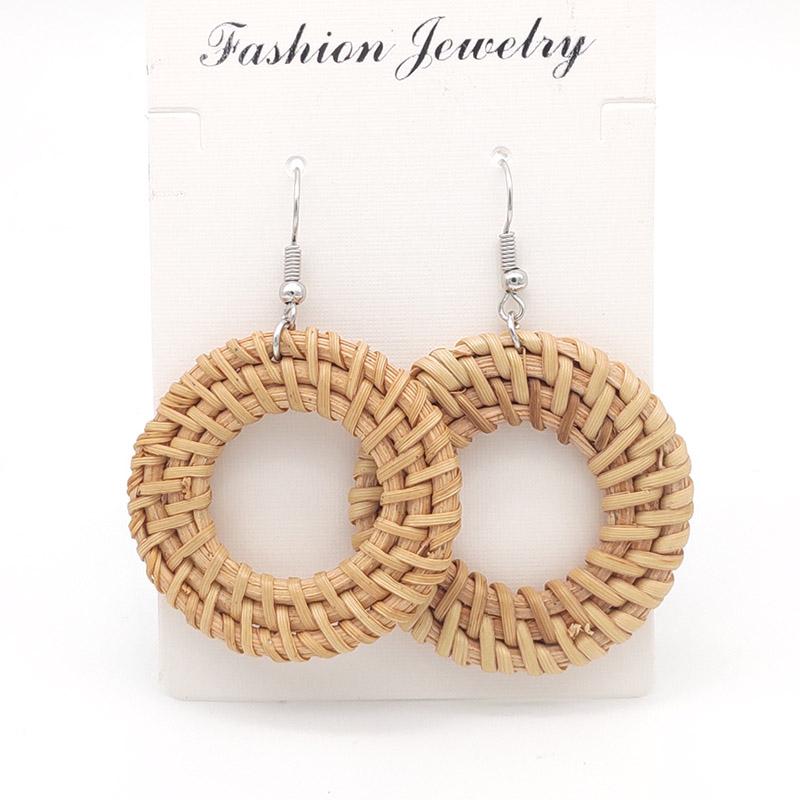 Bohemian Wicker Rattan Knit Pendant Earrings Handmade Wood Vine Weave Geometry Round Statement Long Earrings for Women Jewelry 20