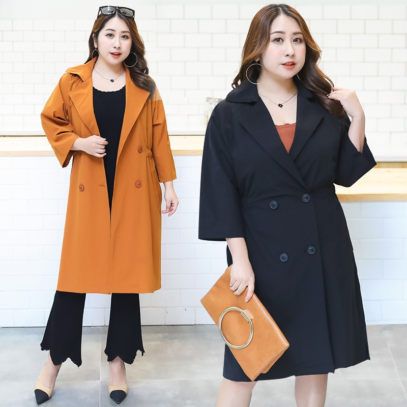 YW003 2018 60-110kg plus size onesize casual long solid Double-row chain-7-sleeve large-sleeved windbreaker trench female YYFS
