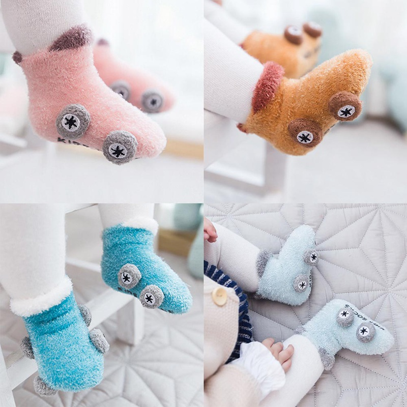 1 Paar Korallen Fleece Baby Socken Nette Auto Muster Baby Mädchen Socken Neugeborenen Weiche Winter Warme Baby Jungen Socken Schmerzen Haben