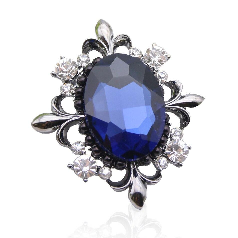 Mode femmes fleur Broches grand rond cristal Broches bijoux dames revers Hijab écharpe Corsage Broches Festival partie broche cadeau