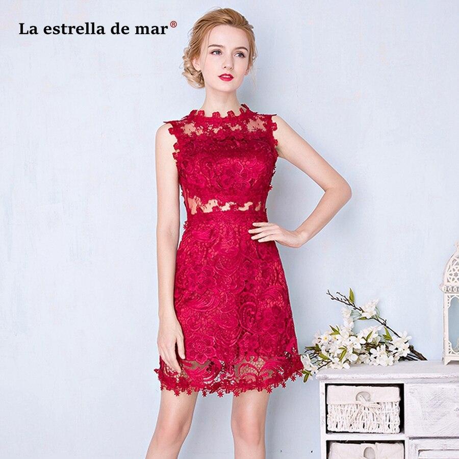 wedding party   dress   2019 new Scoop neck lace A Line burgundy   bridesmaid     dresses   short high quality vestido madrinha