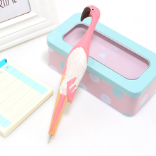 Cute creative Flamingo Writing Pen Ball Point Wooden Novelty Gift School Stationary Ballpoint free shipping high quality metal parker brand ballpoint pen ball point canetas for writing school supplies stationery gift free shipping 3320