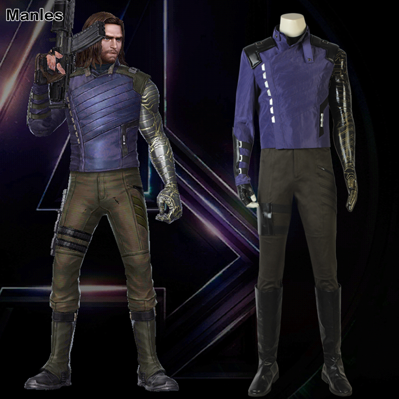Avengers Infinity War Cosplay Winter Soldier Bucky Barnes Costume Halloween Party Clothes Full Set Carnival Suit Boots Adult Men