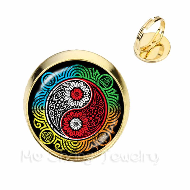 Vintage Yin Yang Cincin Hitam Putih Cross Tai Ji Perhiasan Kaca Cabochon Adjustable Cincin Yin Yang Wanita Terbaik hadiah