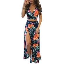 лучшая цена YJSFG HOUSE Elegant Women Summer Long Skirt Set Sexy Hollow Out Crop Top Skirts Floral Print 2 Piece Set Bandage Beach Dress