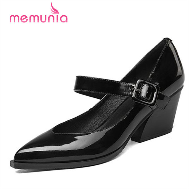 MEMUNIA Big size 33-42 shoes women pumps pointed toe genuine leather work shoes office lady mature buckle mary janes shoes