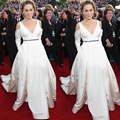 74th Red Carpet Evening Dress Deep V Neck Satin Crystal Beading Belt A Line Satin White Celebrity Dress Sarah Jessica Parker