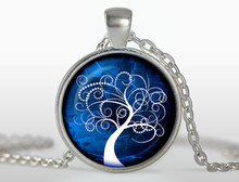 new hot Fashion Tree Jewelry Tree of Life Pendant necklace Round Tree necklace Colar in White & Blue Vintage Tree pendant HZ1