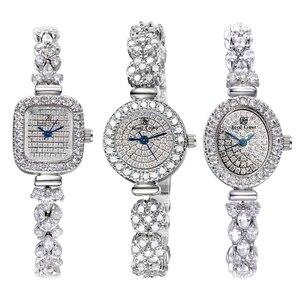 Image 1 - Volledige Crystal Royal Crown Dame Vrouwen Horloge Japan Quartz Uur Fijne Mode sieraden Klok Armband Luxe Meisje Gift