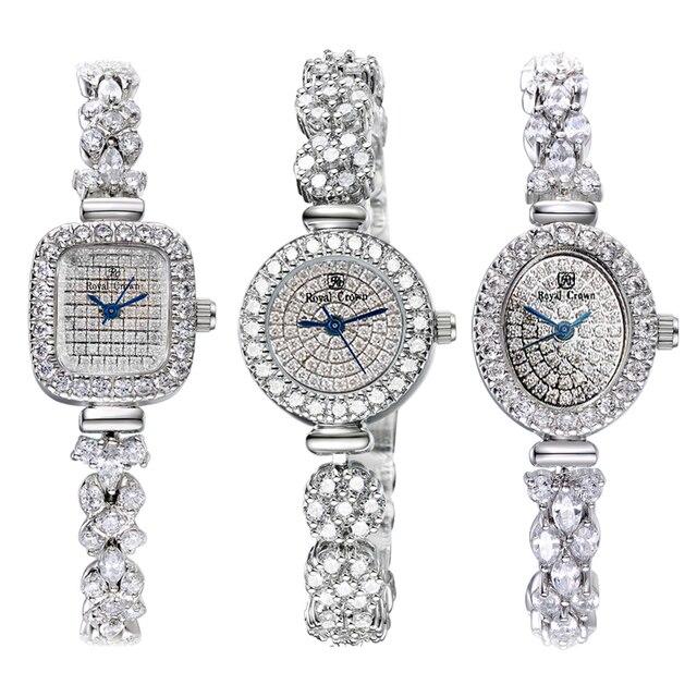 Volledige Crystal Royal Crown Dame Vrouwen Horloge Japan Quartz Uur Fijne Mode sieraden Klok Armband Luxe Meisje Gift