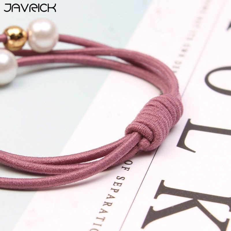 Korean Women Three Rubber Band Hair Rope Cute Little Bee Imitation Pearl Charms Ponytail Holder Gum Knotted Scrunchies Bracelet