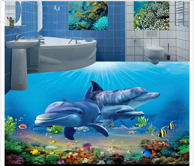 ФОТО 3D pvc floor painting custom mural wallpaper 2015 new 3 d underwater world bathroom floor murals beauty home decoration