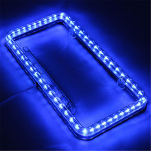 12V Blue LED Car Plate Cover Frame Stying USA/Canada License Tag Holder for Auto Truck Vehicles