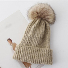 Women Spring Wool Fur Pom Hats Female Natural Raccoon Beanie Hat Winter Cashmere Knitted With Pompom