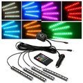 4pcs 9 LED Multi-color Remote Control Car LED Interior Lights Atmosphere Neon Lights Kit with Sounds-activated & Wireless