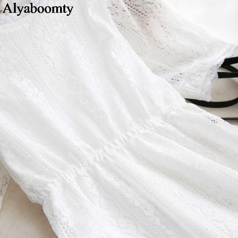 Летнее Белое Женское Кружевное Платье,Нежное И Женственное Миди Платье,С Подкладком И Короткими Рукавами,Красивое Платье Корейского Стиля,Прелестное Платье Для Праздника И Повседневной Жизни