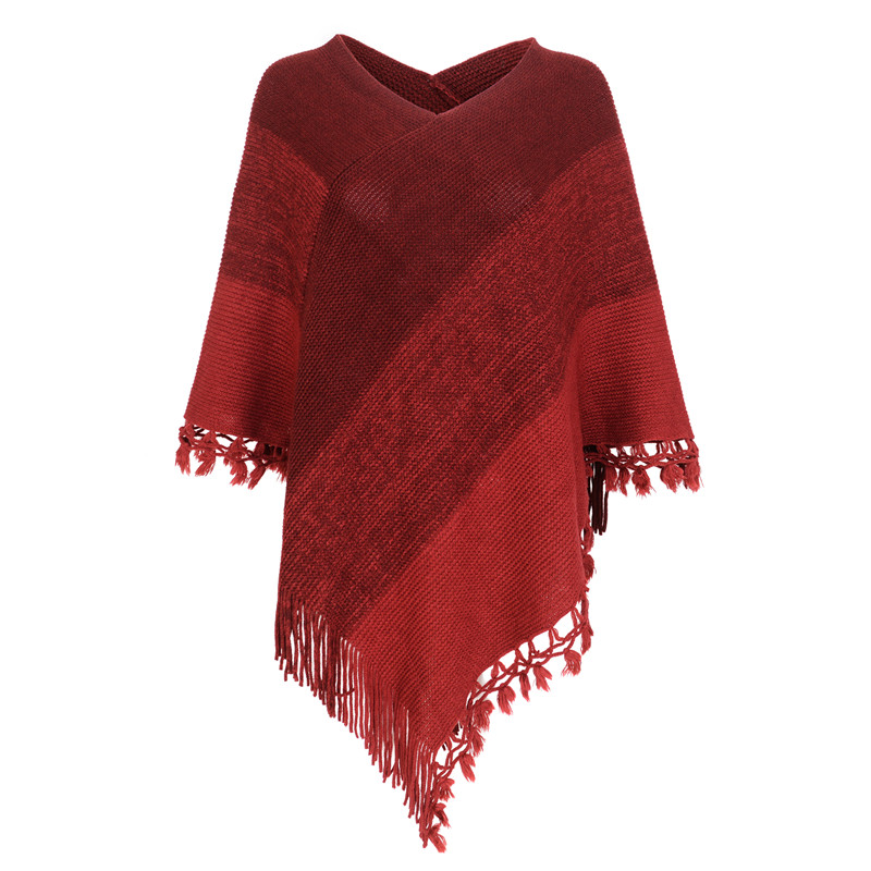New Woman Fashion Poncho Cotton Scarf Lady Shawl Color Stitching Poncho For Woman Pullover