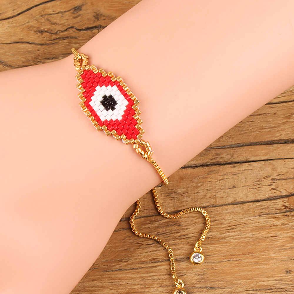 Shinus Miyuki Bracelet Evil Eye Bracelet Miyuki Pulsera Mujer Turkish Eye Bracelet Boho Gold Chain Summer Jewelry Bead Loom 2019