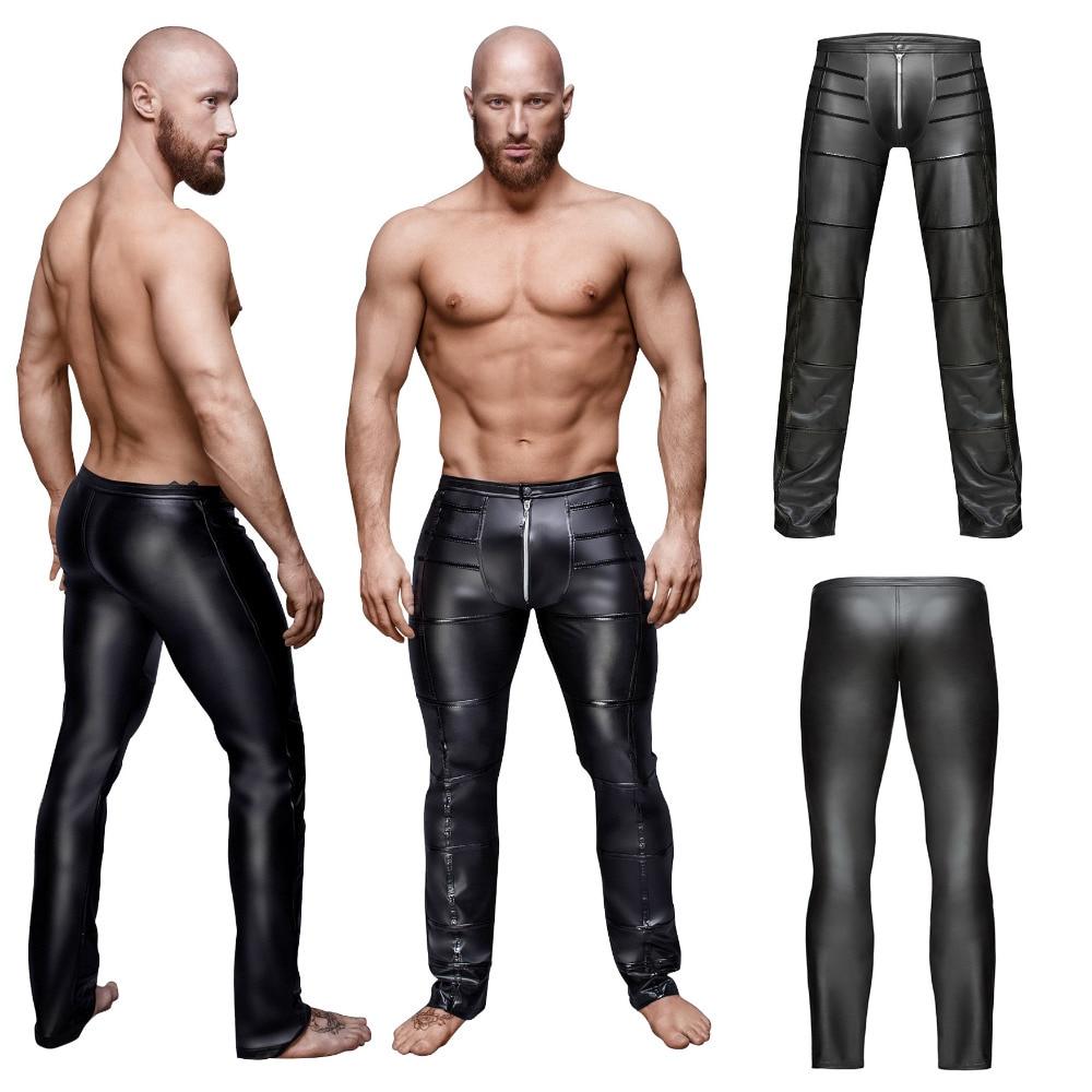 Latex Look Black Gay Mens Leggings Trousers Pouch Zip Front Elasticated Waist