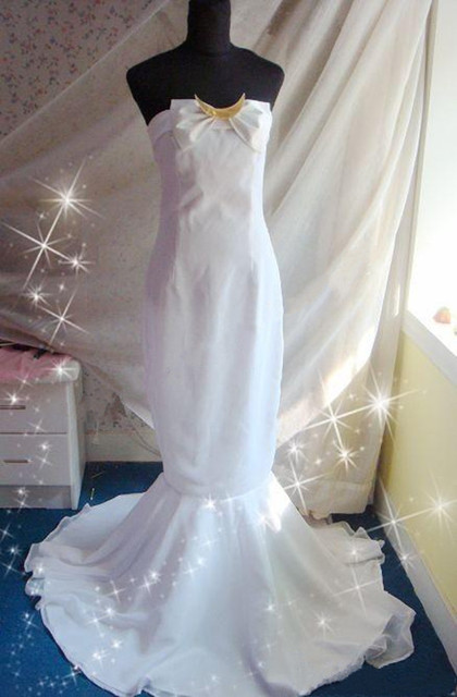 Sailor Moon The Queen Serenity Anime Cosplay White Custom Made Dress