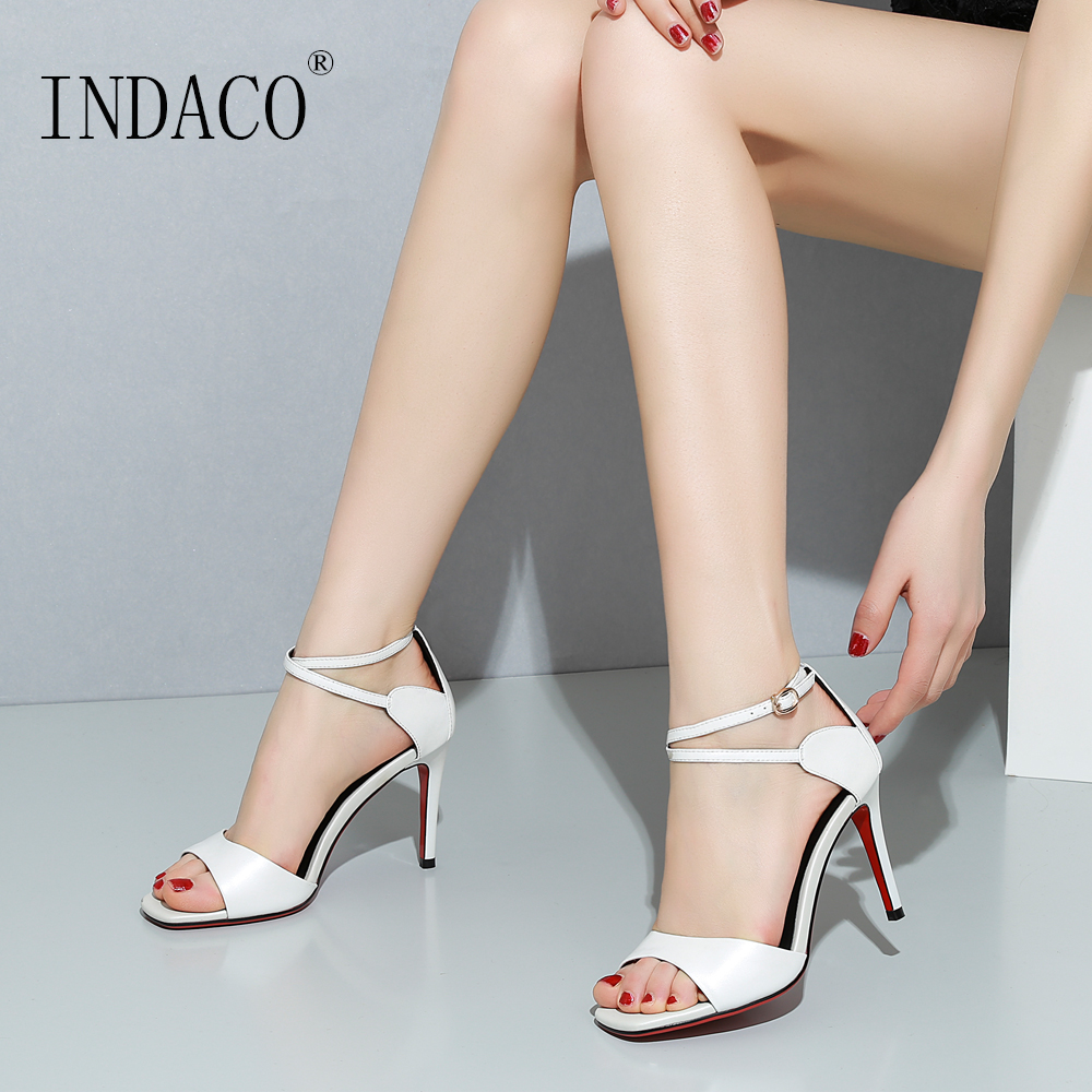 Sandals Women White Black Leather Summer Shoes High Heels Sandals Women 8cm