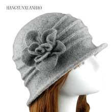 Winter Elegant Female Wool Fedoras 100% Hats For Women Girls Charming Floral Floppy Hat Casual Warm Mom Autumn