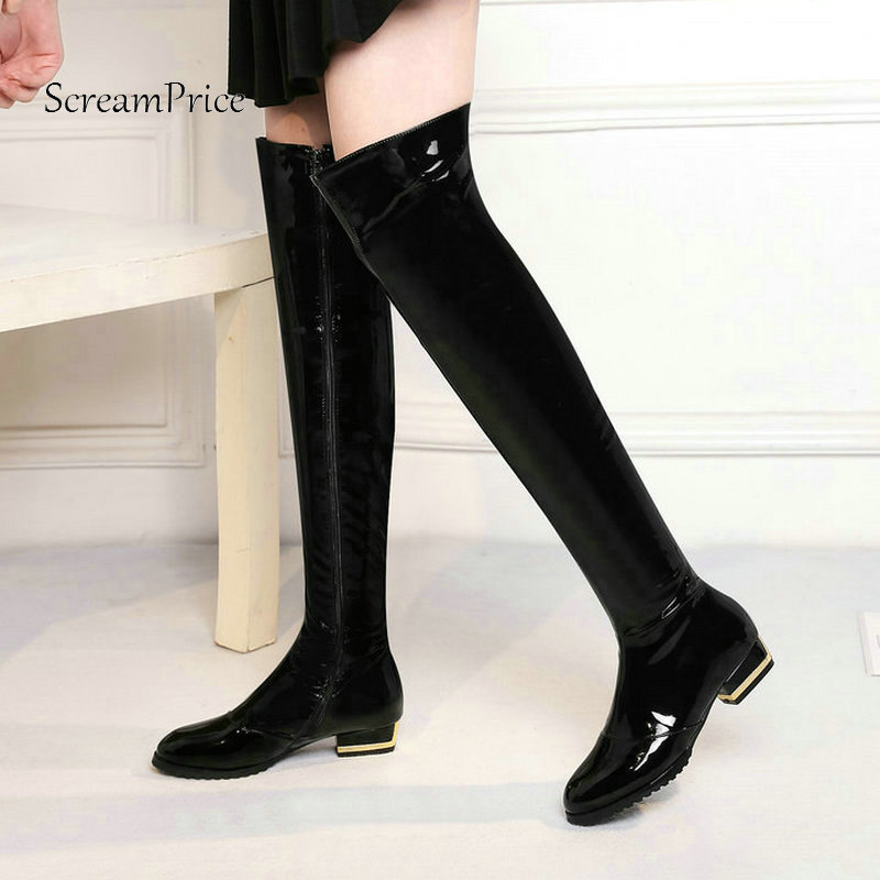 Winter Comfort Square Heel Woman Patent Leather Over The Knee Boots Fashion Zipper Dress Shoes Woman Thigh Boots Black Red