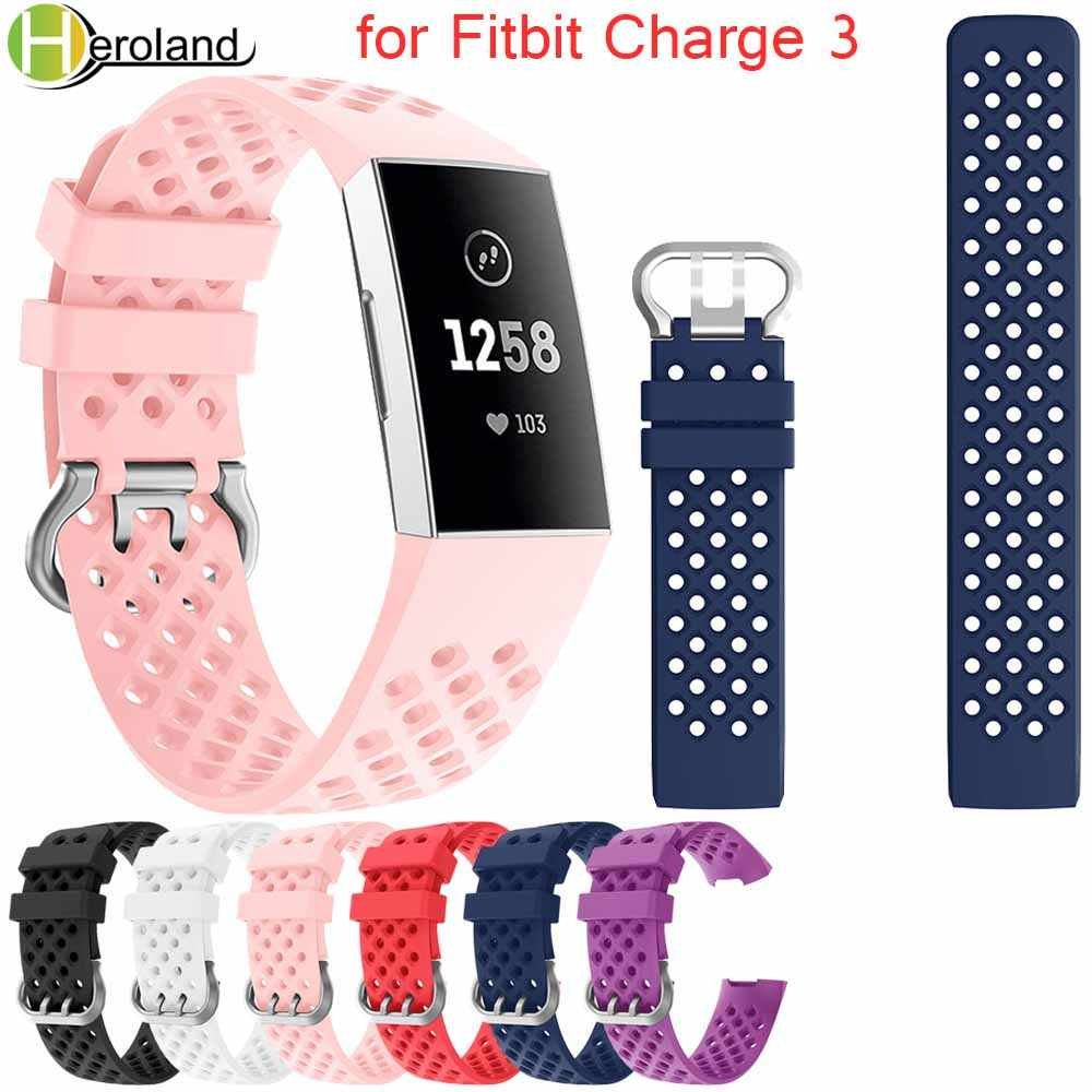 for Fitbit Charge 3 watch band sport Replacement Accessories For Fitbit Charge 3 Watch Strap Rubber Wristband 2018 New Bracelet