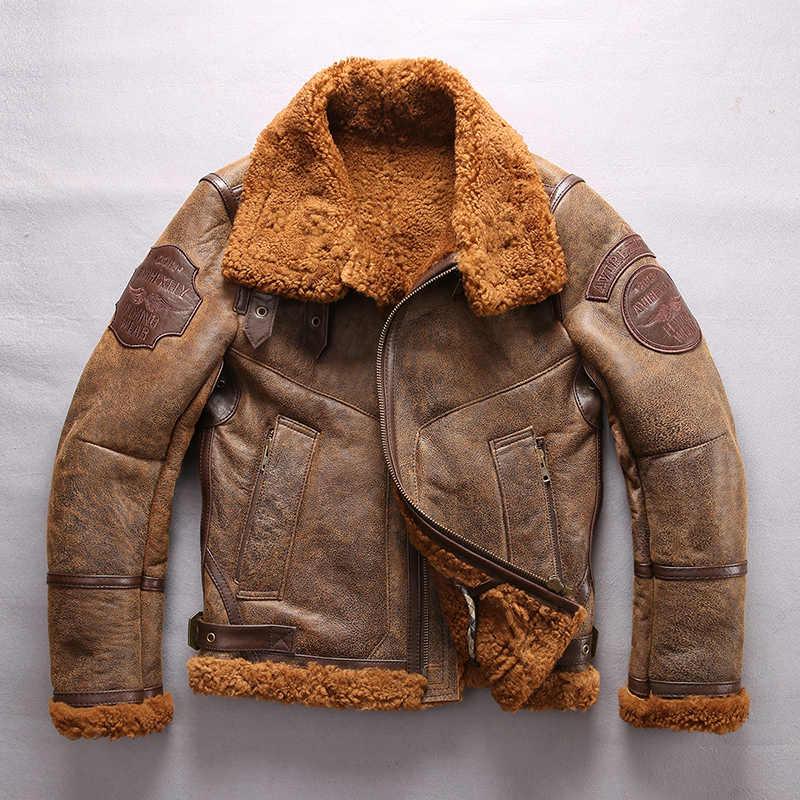 bb4c6dcec6b AVIREX FLY Jacket Air Force B3 Fur One Fur Coat Sheepskin Genuine Leather  Jacket Men Motorcycle