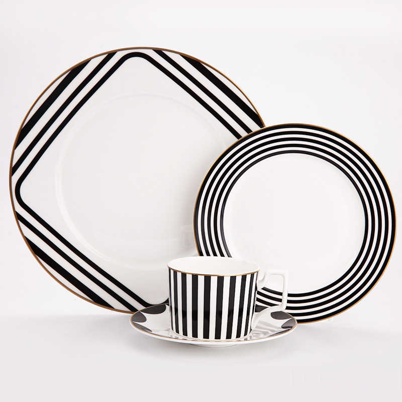 Tableware Set Bone China Black And White Stripe Design 10inch Flat Steak Plate Coffee Cup And Dish Dessert Tray Drinkware Set