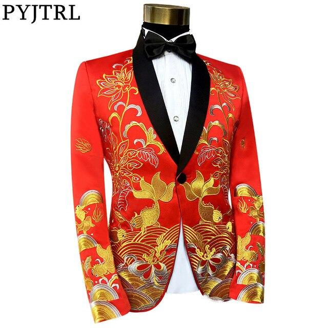 PYJTRL זכר צעיף דש בסגנון הסיני רקום Slim Fit בלייזר עיצוב אדום שחור זינגר שלב תלבושות בלייזר לגברים רגיל