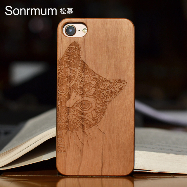 half off 6e347 af288 US $8.9 |Cat Customized Name Carved Natural real Wood Phone Cases For  Iphone X 5 6 S 7 8 PLUS Mobile Cell Phone Cases-in Half-wrapped Case from  ...