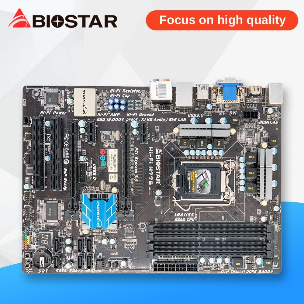BIOSTAR Salut-fi H77S D'origine Utilisé De Bureau Carte Mère H77 LGA 1155 DDR3 16G SATA3 USB3.0 ATX