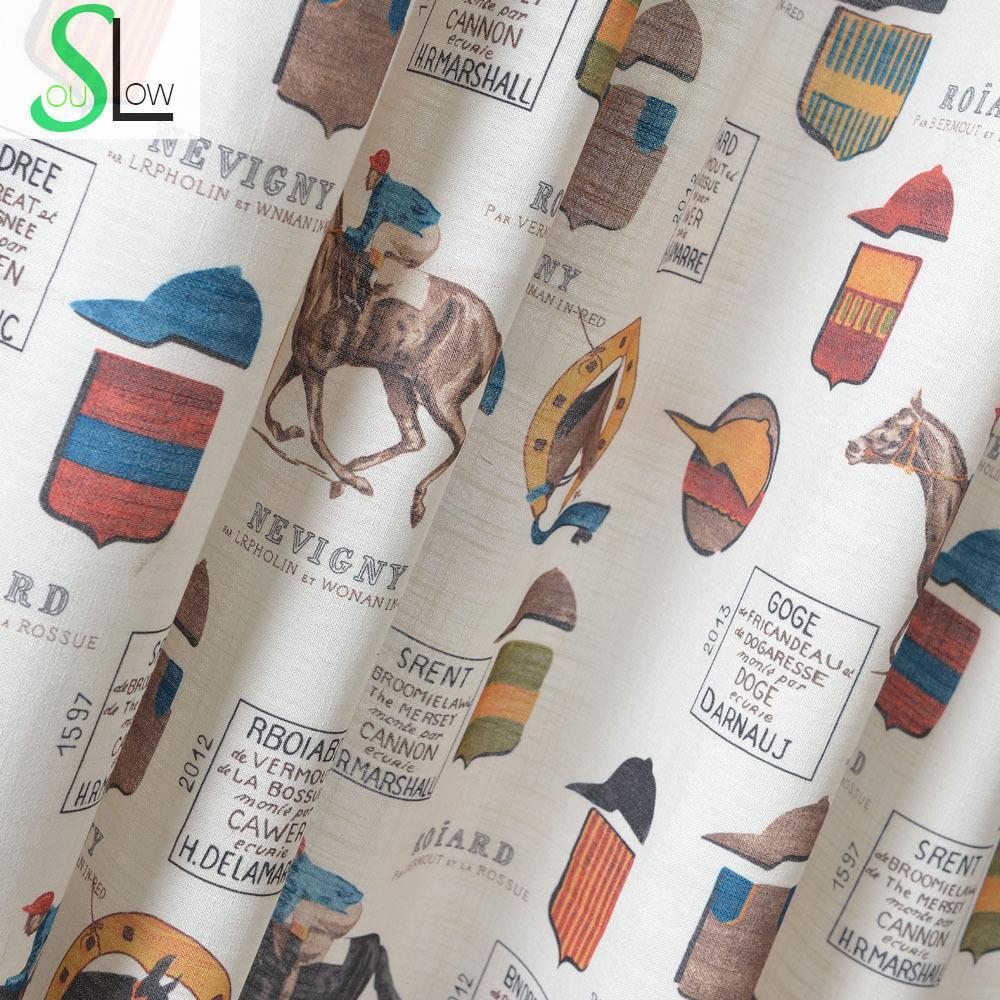 Série têxtil Cavalo Dos Desenhos Animados Tecido Cortina Scenic Cortinas Sala de estar Cortinas Cortina Parágrafo Sala De Luxo Rideaux Pour Le Salon