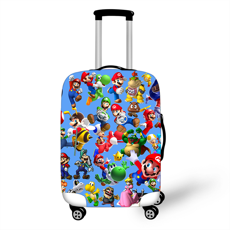 18-32 Inch Suitcase Protective Covers Cartoon Mario Bros Luggage Cover Elastic Travel Bag Cover Stretch Travel Accessories