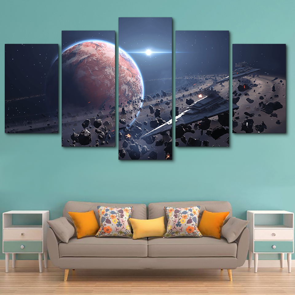 Tableau Wall Canvas Framework Art Pictures Home Decor 5 Panel Movie Star Wars Game Modern HD Printed Paintings Modular Posters